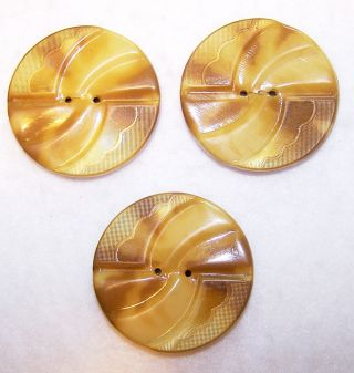 "Vntg Set 3 Celluloid Buttons Cream & Tan 1½"" Diameter 3/16"" High Scallop Design photo"
