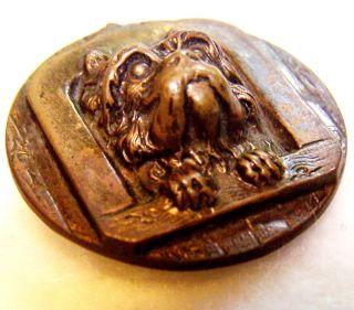 """Antique Metal Scottie Terrier Dog Button 1"""" Diameter 3/8"""" High Eingetr Muster photo"""