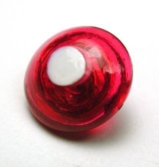 Antique Charmstring Glass Button Red Dome W/ White Dot Swirl Back photo