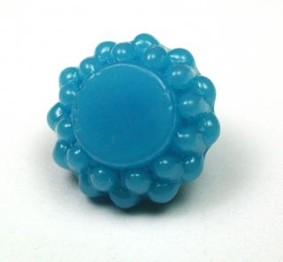 Antique Charmstring Glass Button Turquoise Candy Mold W/ Flat Top Swirl Back photo
