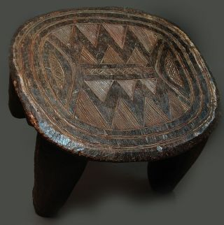 Fine Nupe Carved Wooden Stool Utilitarian Artifact W.  Africa Nigeria Ethnix photo