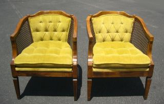 Gorgeous Pair French Cane Arm Chairs Tufted Yellow Velvet Vintage Mid Century photo