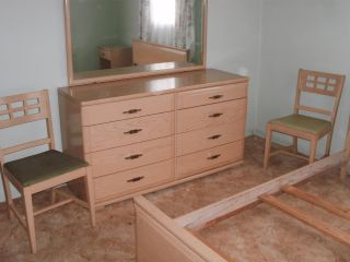 8pc Mengel - Permanized Bedroom Set W/dbl Bed,  Dresser,  Chest,  Night Stand+2chairs photo