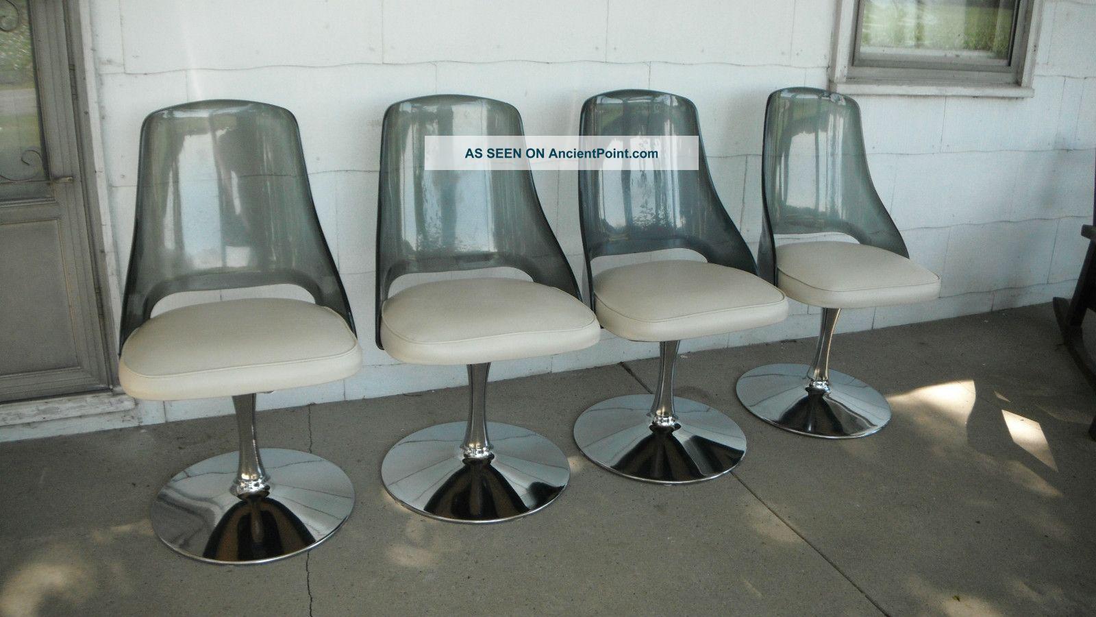 Set 4 Vtg Mid Century Modern Retro Space Age Lucite Chrome Tulip Swivel  Chairs