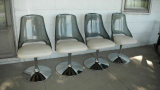 Set 4 Vtg Mid Century Modern Retro Space Age Lucite Chrome Tulip Swivel Chairs photo