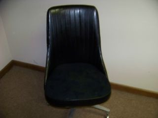 Chromcraft Mid - Century Modern Eames Scoop/bucket Swivel Black Chair photo