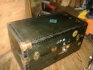 Early Wardrobe Steamer Trunk Coffee Table Vintage Travelling photo