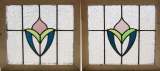 Pair Of Antique Stained Glass Windows Victorian Tulips photo