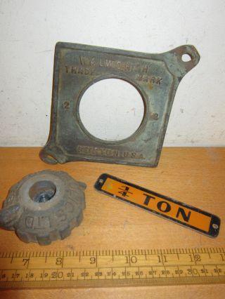 Vintage/retro /industrial Walworth Switch Plate / B&g Hydraulics Switch/ 1/4 Ton photo