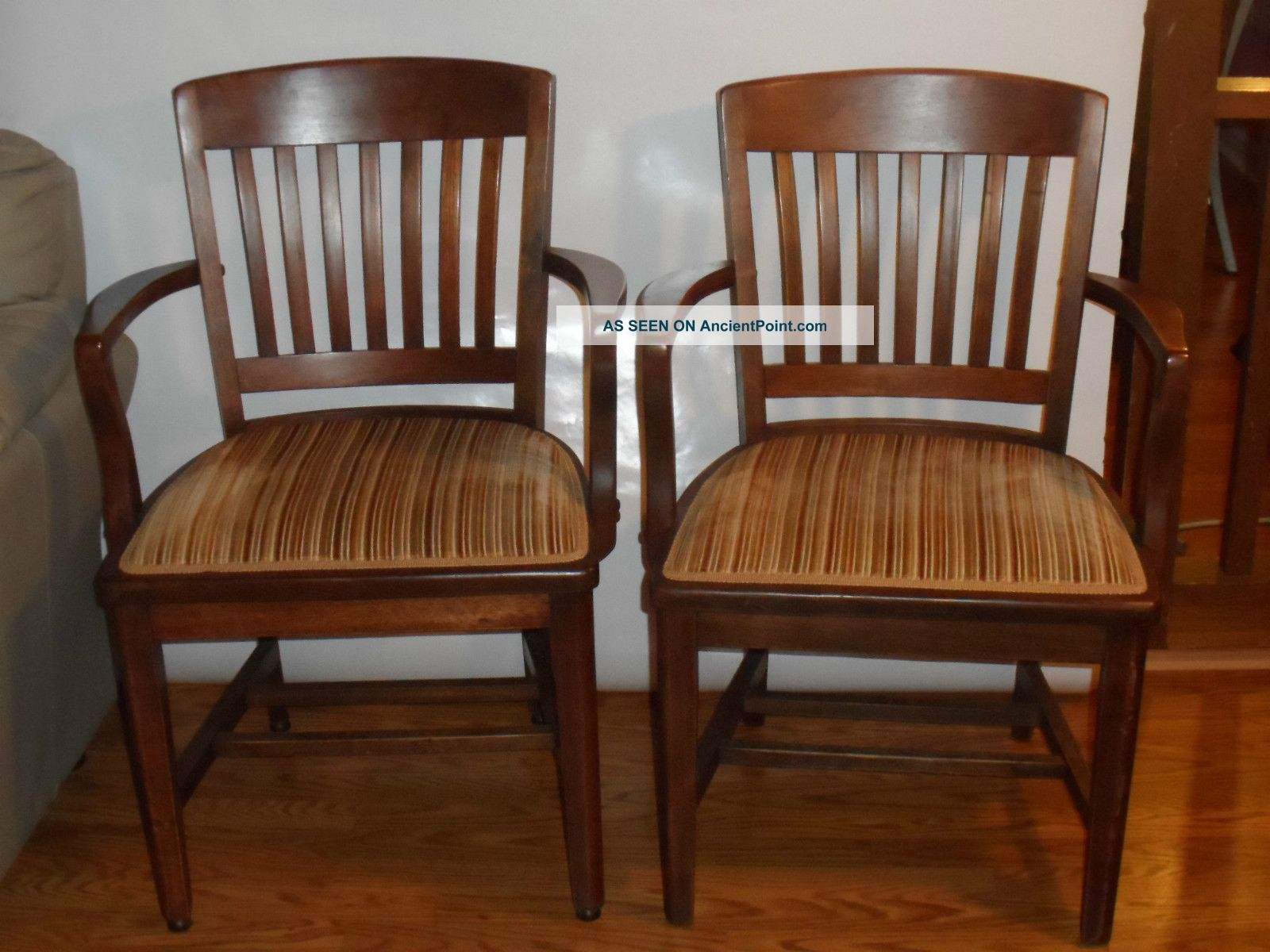 2 Vintage 1930s Walnut Wood Arm Chairs Charleston, Sc Bank ...