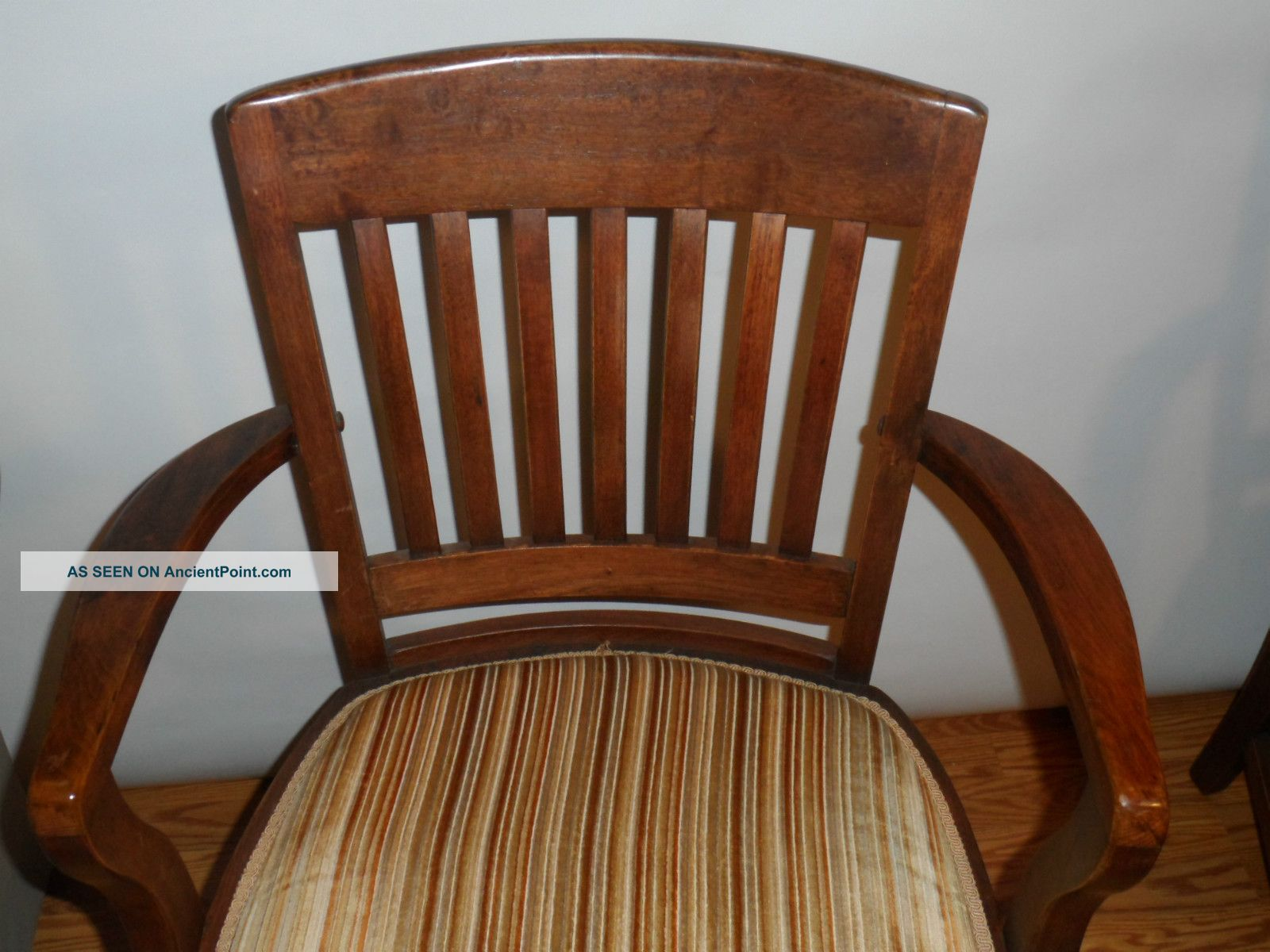 Vintage 1930s Walnut Wood Arm Chairs Charleston Sc Bank Refinished . Full resolution‎  photograph, nominally Width 1600 Height 1200 pixels, photograph with #3E1F0E.