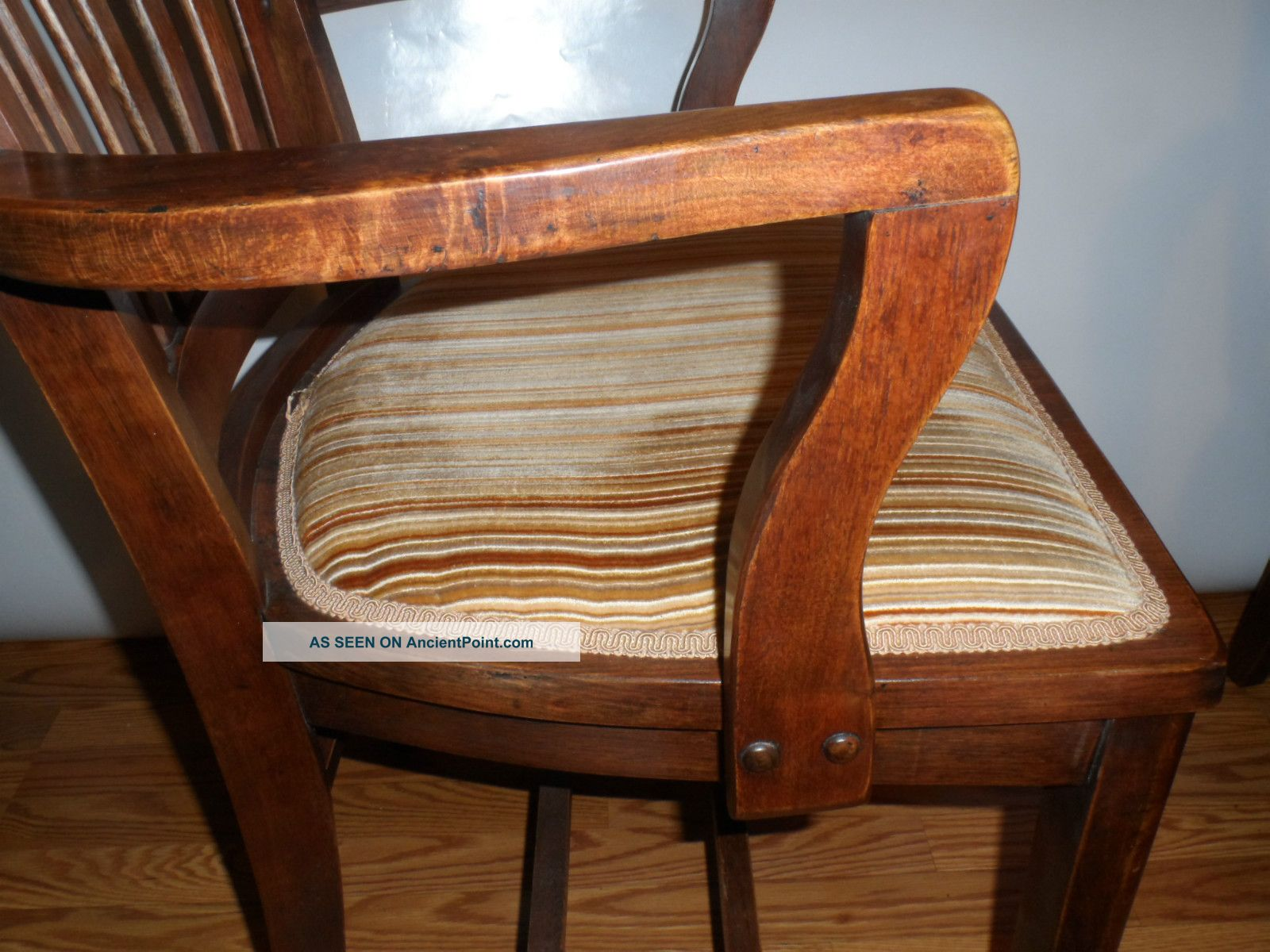 Amazing photo of Vintage 1930s Walnut Wood Arm Chairs Charleston Sc Bank Refinished  with #371C0E color and 1600x1200 pixels