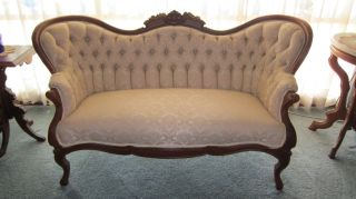 Antique Carved Victorian Love Seat/settee/sofa/couch photo