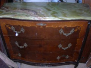 Antique Vintage Butlers Desk Dresser Rare Alabaster Top photo
