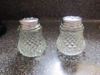 Vintage Small Hob Nail Pale Green Tint Crystal Salt&pepper Shakers photo