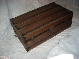 Antique Vintage Wood Wooden Leather Trim Flat Top Steamer Storage Trunk photo