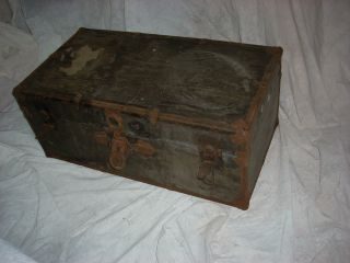 Vintage Wood Wooden Flat Top Steamer Storage Trunk Us Military Army Foot Locker photo