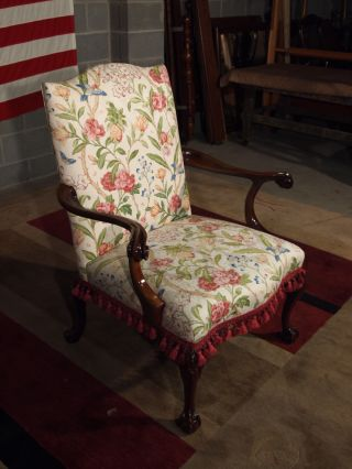 Large Size Stunning Chippendale Ball And Claw Foot Arm Chair Very photo