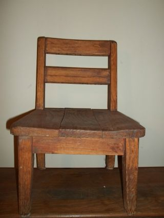 Antique Tiger Oak Antique Child ' S Chair photo