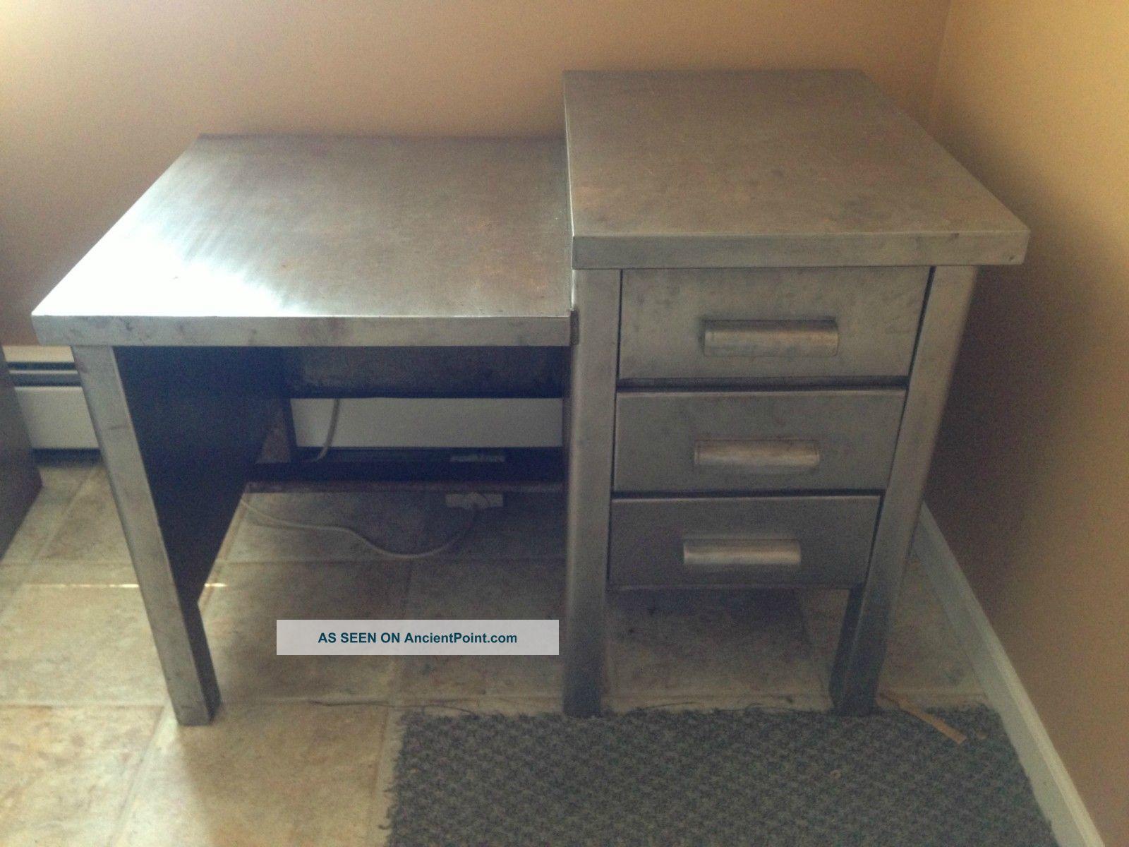 Rare Industrial 1950 ' S Metal Desk Post-1950 photo