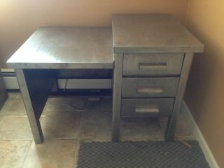 Rare Industrial 1950 ' S Metal Desk photo