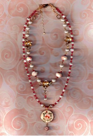 Antique Satsuma Rose Button Gf Necklace With Pink Pearls photo