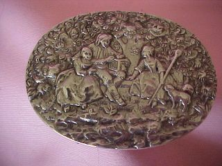 Antique French Sterling Snuff Box Repousse Pastoral Scene Hand Chased photo
