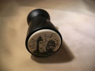 Scrimshaw Resin / Woodaerator Wine Stopper Lighthouse - Ship photo