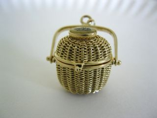 14 K Yellow Gold Nantucket Basket Pendant Charm Hand Woven Scrimshaw photo