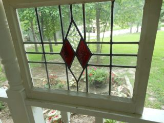 34sc Double Diamond Transom Style English Leaded Stained Glass Window photo