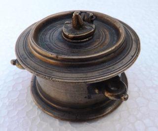 Hand Crafted Brass Round Ink Well Pot Dawat photo