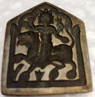 Vintage Brass Indian Hand Casting Jewelry Mold/stamp/seal Goddess Durga Maa photo