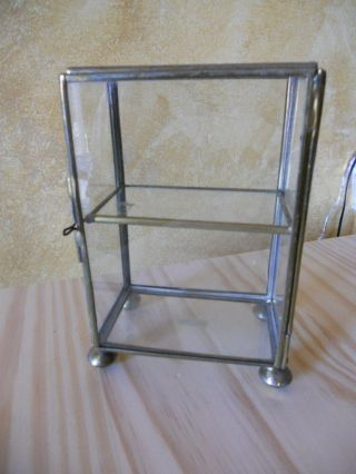 Vintage Small Brass Display Case With Hinged Door,  2 Shelves photo