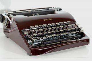 Vintage 1939 Corona Speedline 2s Silent Typewriter Red W/ Case Lc Smith Retro photo