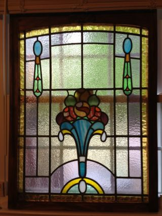 Amazing Floral Art Nouveau Stained Glass Window Beveled Glass photo