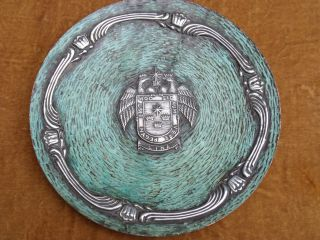 Peruvian Armorial Copper Plaque,  Inlaid With Unmarked Silver photo