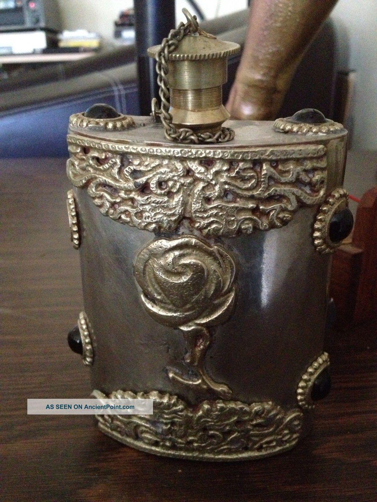 Vintage Sterling Silver Flask With Hand Carved Details Bottles, Decanters & Flasks photo
