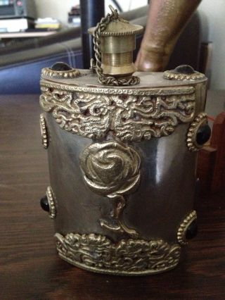 Vintage Sterling Silver Flask With Hand Carved Details photo