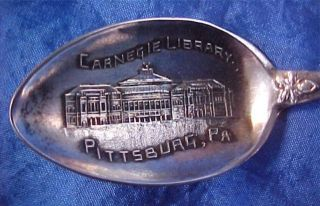Carnegie Library Sterling Silver Souvenir Spoon Pittsburgh Pennsylvania photo