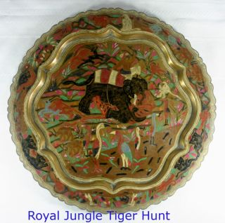 Antique Benares Ware 12 Inch Brass Tray With Royal Hunt And Jungle Scene India photo