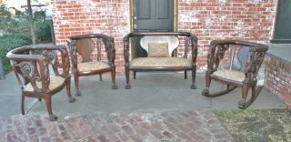 Gorgeous French Anitque Empire Living Room Set 2 Chairs,  Settee,  & Rocker 1810 photo