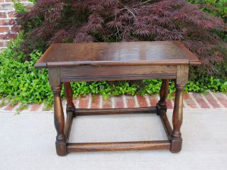 Antique English Carved Dark Oak Peg Constructed Foot Stool Bench Table photo