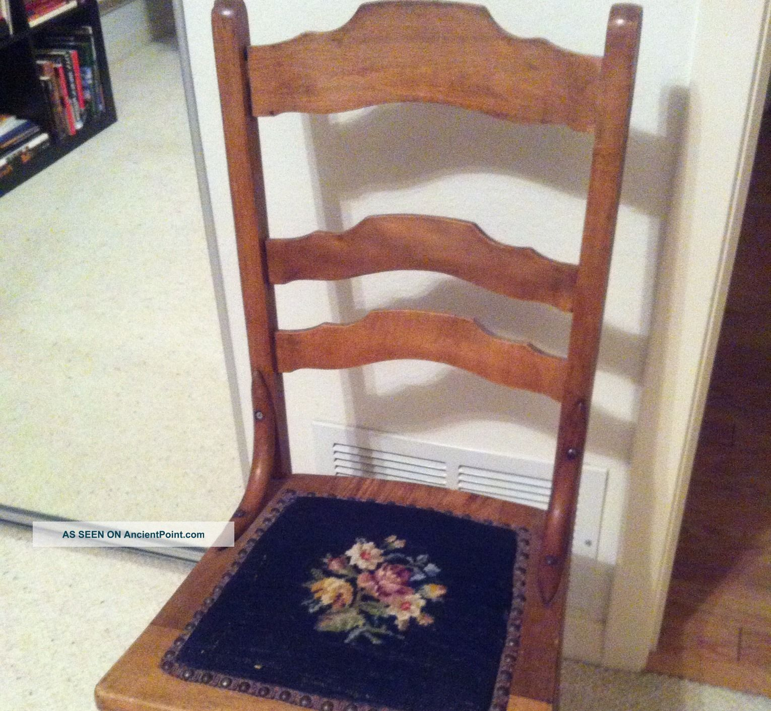 Antique Chair With Embroidered Seat 1900-1950 photo