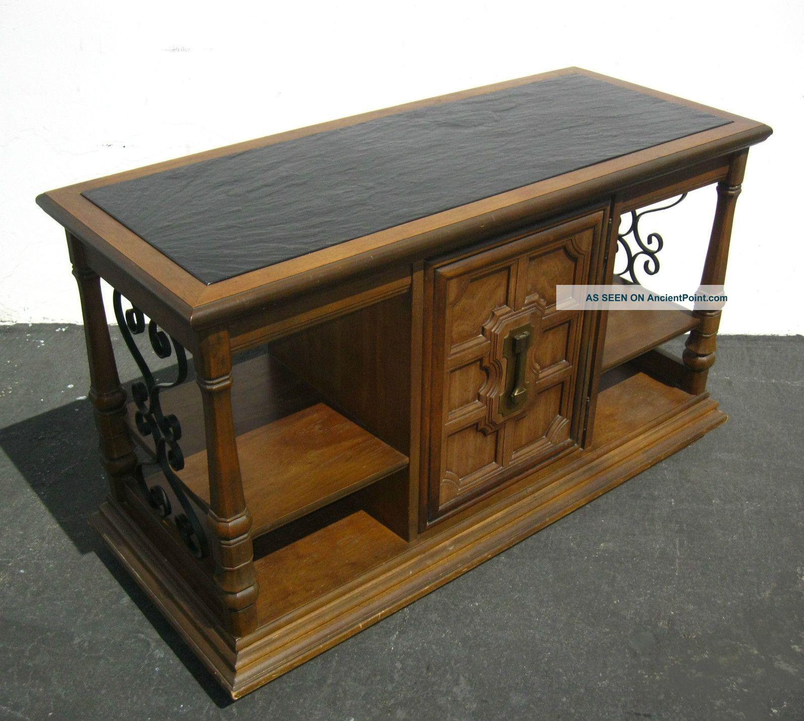 Vintage Spanish Style Wrought Iron Slate Server Buffet Entry Table Mid Century 1900-1950 photo