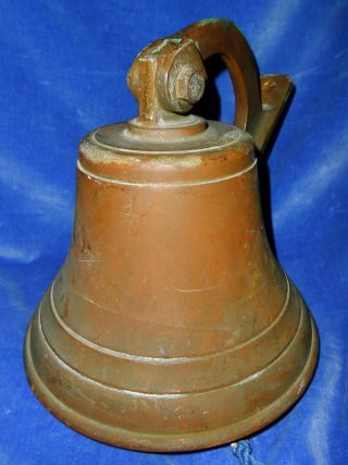 C.  1900 Antique Bronze Ship ' S Bell Wall/mast Mount,  Also School/church Ring photo