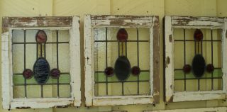 Antique Stained Glass Stainedglass Leaded Window Multi Colored Phalic Pattern photo