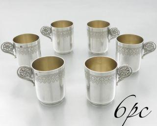 Antique French Sterling Silver Vodka Cup Goblet Set 6pc Parcel Gilt Minerva 950 photo