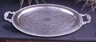Large Fancy Old Oval Silverplate Heavy Copper Brass Serving Tray Henley Oneida photo
