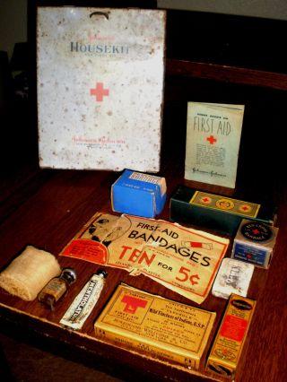 Antique Tin First Aid Kit By Johnson & Johnson 12 Phamaceutical Items 1925 photo