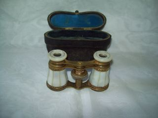 Antique Leclaire Paris Mother Of Pearl Opera Theater Glasses Wcase Victorian Era photo
